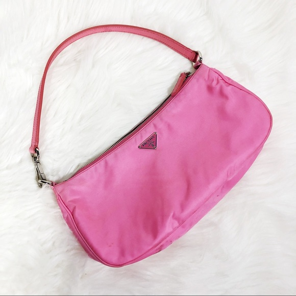 a7ddac09d024 Y2K Prada Bright Pink Nylon Mini Bag Wristlet. M_5b68d15381bbc89025661e3a